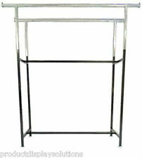 """Commercial Grade Clothing Double Bar H Rack   Adjustable Height 48""""-72""""   BLACK"""