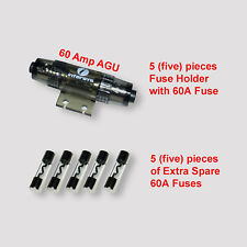 In-line 60 amps AGU Fuse Holder - 5 pcs with 5 Extra Fuses!