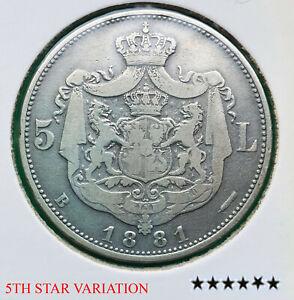 RARE 5 lei 1881 Romania silver coin - 6 stars - 5th star variation