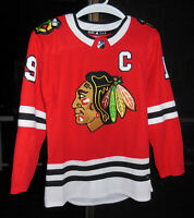 AUTHENTIC ADIDAS NHL CHICAGO BLACKHAWKS JERSEY, JONATHAN TOEWS #19, RED, SIZE 50