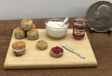 Dollhouse Miniatures Baked Goods, Strawberry Jam & Whipped Cream Prop Board