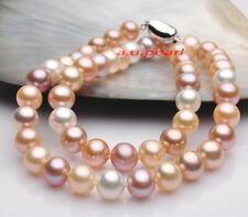 """AAAAA 18""""10-11mm REAL South sea WHITE PINK PURPLES Multicolor pearl NECKLACE 14K"""
