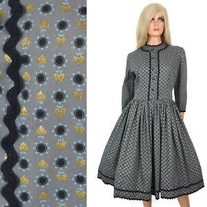 Vintage 40s 50s FIT FLARE DRESS Shirt Waist Lucy Rockabilly Mid Century Feedsack