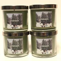 NEW 4 BATH & BODY WORKS EVERGREEN 4 OZ SCENTED FILLED MEDIUM CANDLE SLATKIN & CO