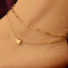 Women Gold Love Heart Ankle Bracelet Double Layer Chain Sexy Foot Anklet Gift