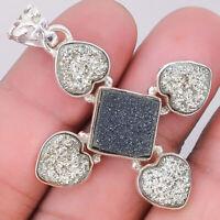 Black Druzy and Platinium Druzy 925 Sterling Silver Pendant Jewelry SDP15689