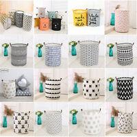 Useful Baby Kids Toy Canvas Laundry Basket Storage Bag With Leather Handbag