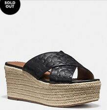 COACH Women's 7 Black Logo Leather Wedge Espadrille Slides NWT FABULOUS SOLD OUT