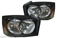 New Replacement Black Headlight Assembly PAIR / FOR 2005-07 DODGE DAKOTA