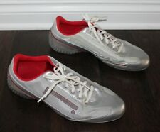 PIRELLI Trainers Tennis Shoes Men's US 9 UK 8 Silver Red PZERO-REX Leather Suede