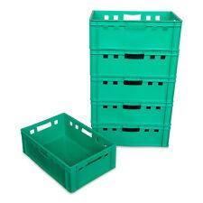 6 Stück E2 Stapelbox Gemüsekiste Vorratsbox Lagerbox lebensmittelecht grün NEU