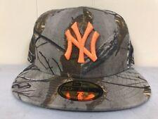 Brand New New Era 7 5/8 New York Yankees Fitted Hat Camo/Orange