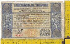 Biglietto Lotteria di Tripoli - 1935 - Tripoli Lottery Ticket