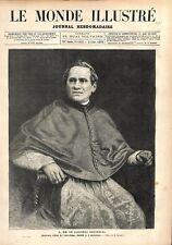 Cardinal Antonelli Secretaire d'état du Saint-Siège Vatican à Rome GRAVURE 1876