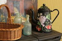 Vintage Black Tole Coffee Pot with Fruit, Black Enamelware Kettle, Folk Art