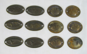12 Antique 1778-1810 Drawer Pull Stamped Brass Backplates Wales Crown & Lily yqz