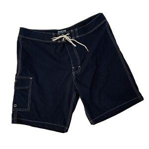 J Crew Cargo Swim Trunks Shorts Size 34 Navy Blue Hook & Loop Closure Tie Waist