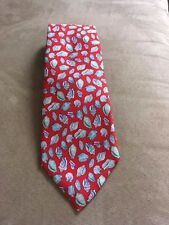 GUCCI Authentic Silk Tie ~ Vintage Red with Blue Shells  ITALY - MINT!!!!