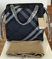 NWT AUTH BURBERRY NYLON NOVA CHECK PACKABLE NAVY BLUE PURSE TOTE BAG $575