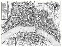 MAP ANTIQUE MERIAN 1642 BASEL BASLE CITY PLAN LARGE REPLICA POSTER PRINT PAM1061