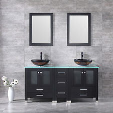 "60.6"" Modern Design Solid Wood Bathroom Vanity Cabinets w/Vessel Sinks & Mirrors"