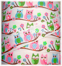 7/8 HOOT OWLS GLITTER FLOWERS MUD PIE PINK LIME GROSGRAIN RIBBON 4 HAIRBOW BOW