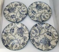 "WIlliams Sonoma Lancaster Palampore Dinner Plates Set of 4 Blue Dish Safe 10.5"""