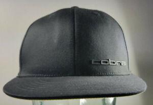 Cobra Black / Yellow Fitted Flat Brim Hat Cap Golf Tour S/M 6 7/8 - 7 1/4 UNUSED