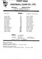 Teamsheet - Port Vale v Brighton & Hove Albion 1990/91