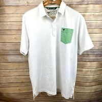 Travis Mathew The Chive Golf Mens XXL 2XL Polo Shirt White Green Pocket Logo EUC