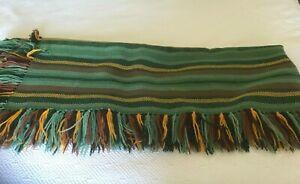 Lightweight Wool  Handwoven Throw Blanket Fringe Autumn