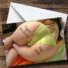 Big Bum Tattoo Personalised Birthday Greetings Card