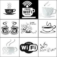 Coffee Tea Cup Kitchen Bar Home Sticker Mural Wall Sticker Art Decal Cafe Vinyl