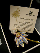 SIGNED SWAROVSKI 2001 MOTHERS PIN~BROOCH 22KT GOLD PLATING NEW IN BOX RARE!!
