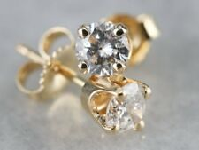 1/2 Ct Solitaire Diamond Real 14k Yellow Gold Stud Earrings Valentine Day Gift