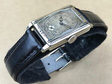 Gruen Precision Quadron Art Deco 1920s White Gold Filled Rectangular Watch