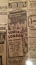 "FEB 23, 1940 NEWSPAPER PAGE #J5298- BORIS KARLOFF IN ""TOWER OF LONDON"" MOVIE AD"