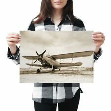 A3 - Old Airplane Vintage Aviation Plane Poster 42X29.7cm280gsm #21954