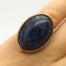 Gold Plated BARSE Real Lapis Lazuli Gem Floral Design Wide Ring Size 6