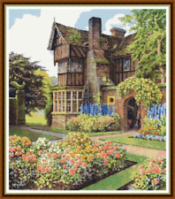 """'OLD VICARAGE' Cross Stitch Pattern (15¾""""x18"""") Building/Detailed/Garden/Flowers"""