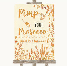 Wedding Sign Poster Print Autumn Leaves Pimp Your Prosecco