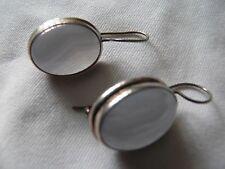silver Blue lace agate oval  Earrings (06)