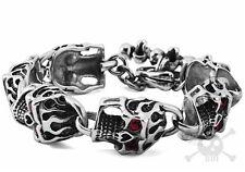 """【from US】Rocker Biker Gothic Red Eye Monster Skull 8.5"""" Stainless Steel Bracelet"""