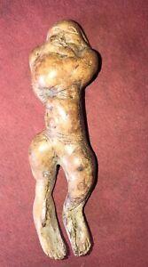 Hand Carved Folk Art ? Wood Carving weird ugly man burl???