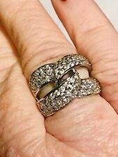 Gorgeous Intertwined Cubic Zirconia Cocktail Ring in Sterling Silver Sz6?