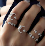 5Pc Vintage Frauen Pretty Moon Star Strass Boho Knöchel Midi Finger Ring Set Neu