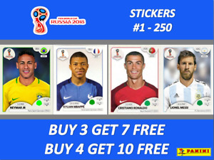 Panini WORLD CUP 2018 RUSSIA STICKERS #1-250 ☆☆ BUY 4 GET 10 FREE!! ☆☆