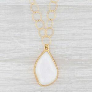 "New Nina Nguyen White Druzy Quartz Agate Pendant Necklace 20"" Sterling 22k Gold"