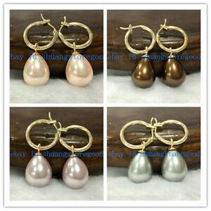 Wholesale 12x16mm South Sea Teardrop Shell Pearl Dangle Earrings 14K Gold Plated