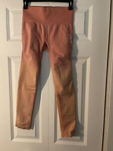 Gymshark pink and orange ombre seamless set long sleeve and leggings size small